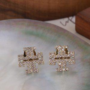 Tory Burch Light Gold Square Minimalist Earrings